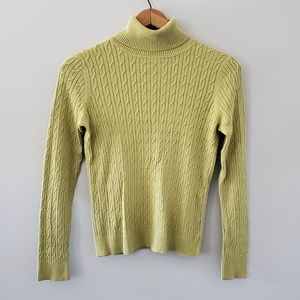 Talbots Green Cable Knit Turtleneck Sweater